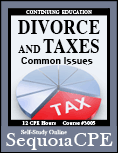Course# 3005: Divorce and Taxes Common Issues